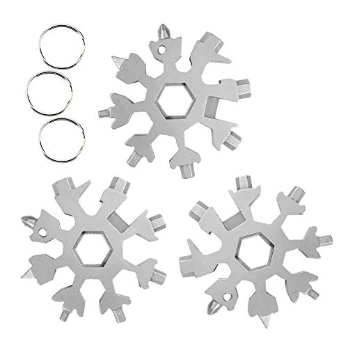 3PCS Edelstahl Multifunktionswerkzeug, 18-in-1 Schneeflocke Multi-Tool Karte, Fahrrad Multifunktionswerkzeug Schraubendreher Flaschenöffner Ringschlüssel Sechskantschlüssel für Outdoor