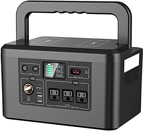 Powkey Portable Power Station 1000W with Wireless Chargers, 110V/962WH Solar Generator, 260,000mAh Emergency Backup Lithium-ion Battery for Outdoors Travel RV Trip Camping CPAP Machine, Charged by AC Outlet / Solar Panel (buy separately) / Car Port