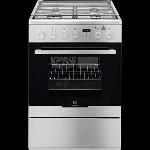 ELECTROLUX Cocina eléctrica EKK64984OX con 4 fuegos de gas, horno eléctrico multifunción ventilado, clase A, dimensiones 60 x 60 cm, color inoxidable