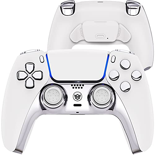 HexGaming HEX Rival Controller 2 Mappable Back Buttons & Replaceable Thumbsticks & Hair Trigger for PS5 Pro Custom Controller PC Wireless FPS Esport Gampad - Silver White