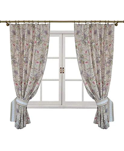 Juego de dos cortinas con cinta de fruncir. Abrazaderas estampadas con flores de lavanda de la colección Grosso, fabricada con tejido italiano / Medidas: 136x170 cm / 80% algodón, 20% poliéster