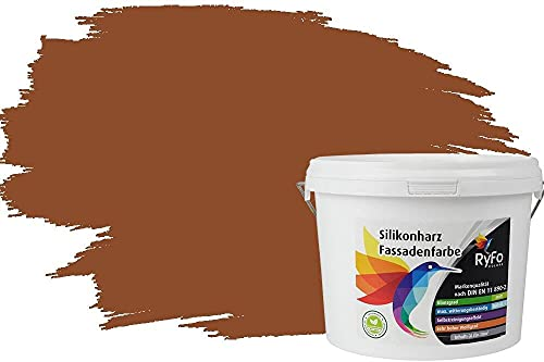 RyFo Colors Silikonharz Fassadenfarbe Lotuseffekt Trend Nussbaum 3l - bunte Fassadenfarbe, weitere Braun Farbtöne und Größen erhältlich, Deckkraft Klasse 1