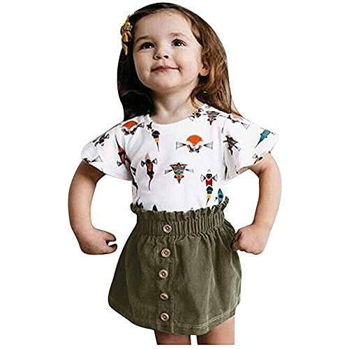 junmo shop Conjunto de ropa para niños+faldas, para bebés de manga corta con estampado de dibujos animados de camisetas+faldas de color sólido trajes de verano
