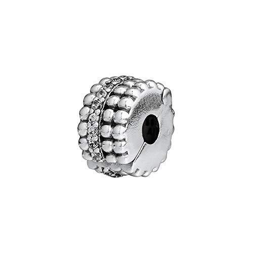 LILANG Pulsera de joyería Pandora 925 con Cuentas Naturales con Clip de Brillo, Cuentas de Plata de Ley Originales para Hombres para Hacer Regalos de Bricolaje para Mujeres