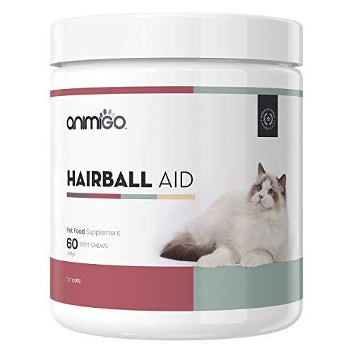 Animigo Anti Bolas de Pelo de Gatos | Suplemento Nutricional para Evitar Bolas de Pelo y una Digestión Saludable | con Fibra Psyllium, Ácidos Grasos Omega 3 y 6 | 60 Cápsulas Masticables