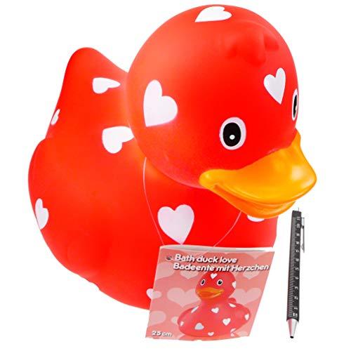 Badeente XXL | 26 cm lang | rot mit Herz