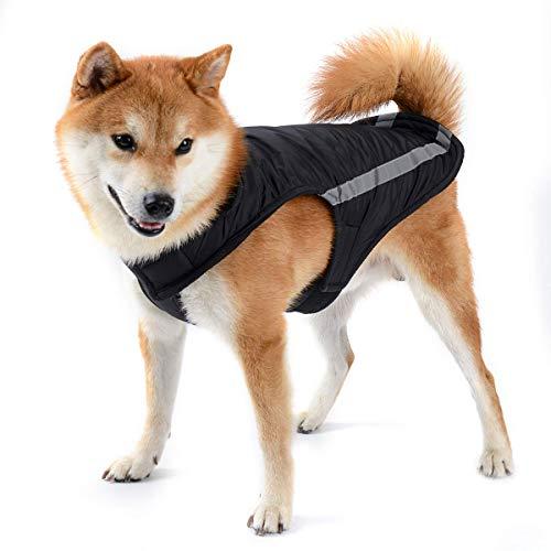 Cappottini per Cani Giubbotti Invernale Giacca per Cani Gilet Caldo Giacca per Cani con Striscia Riflettente Cappotto di Sicurezza con Foro per Collare Cani di Piccola Taglia Media Nero L