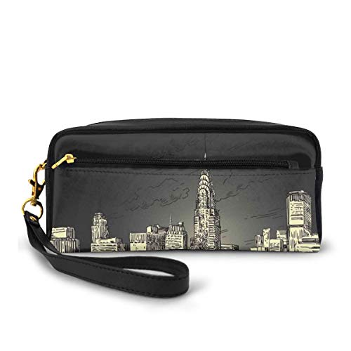 Pencil Case Pen Bag Pouch Stationary,Grunge Pop Art Style Retro NYC Sky with Iconic Empire States Building City Print,Small Makeup Bag Coin Purse
