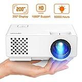 DBPOWER Mini Proyector PortáTil Full HD de 2000 LúMenes con Pantalla de 200 Pulgadas Compatible con 1080P de Video Casero Vida úTil De 50,000 Horas, Proyector Multimedia