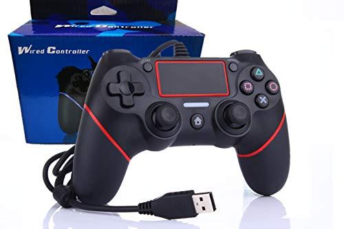 Intckwan Manette Rouge filaire pour PS4 et PC. Contrôleur, Gamepad, Joystick Support de mouvement et de vibration
