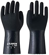 LANON Nitrile Chemical Resistant Gloves, Reusable Heavy Duty Safety Work Gloves with MicroFoam Textured Palm, Acid, Alkali and Oil Protection, XX Large