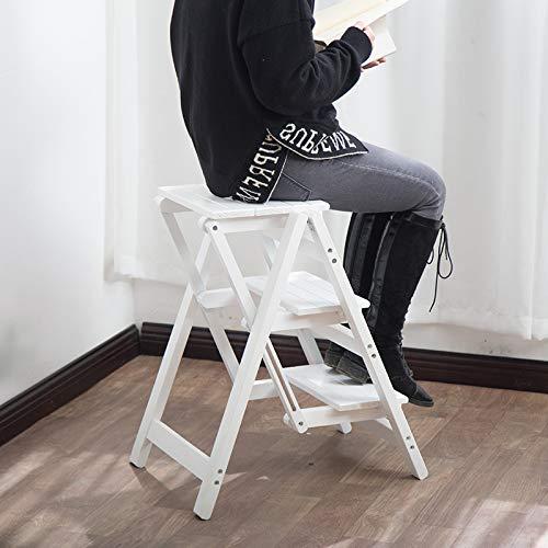 DXXWANG Mode Fußbank Ladder Hocker Stuhl Stehen Multifunktions Ein Starker Treppe Kletterei Dauerhaft Eine Sicherheit Holz Blume Bibliothek Schlafzimmer Ein Zimmer/A / 2 layers