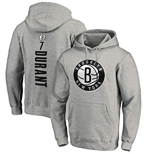 LMSNB Sudadera con capucha Brooklyn Nets #2 Para Hombres Baloncesto Kevin Durant Sudadera con capucha Street Retro Camisa de moda Chaqueta Casual Entrenamiento Sudadera - Gris