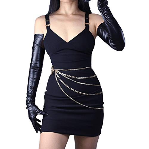 DooWay 27 inch Long TOUCHSCREEN Faux Leather PU Gloves Women's Black Finger Opera Gloves