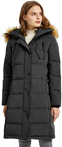 Orolay Women s Down Jacket Winter Long Coat Windproof Puffer Jacket with Fur Hood Pirate Black product image