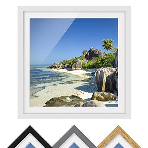 Bild mit Rahmen - Traumstrand Seychellen - Rahmenfarbe Weiß, 50 x 50 cm