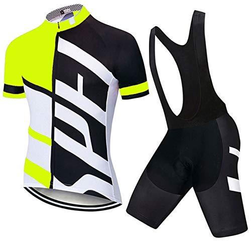 WPW Conjunto de Maillot de Ciclismo para Hombre, Pantalones Cortos de Secado Rápido de Las Camisas de La Ropa de La Manga Corta de la Bicicleta de Carretera de MTB con 19D Acolchado