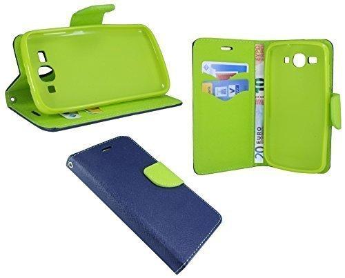 ENERGMiX Buchtasche kompatibel mit Huawei Ascend Y540 Hülle Hülle Tasche Wallet BookStyle mit Standfunktion in Blau-Grün (2-Farbig)