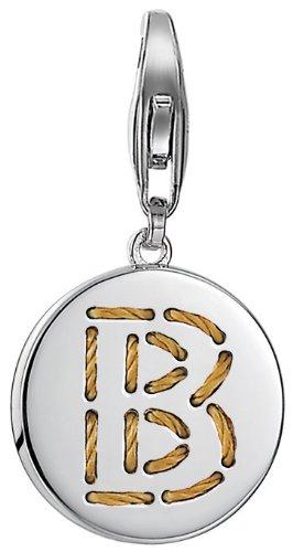 ESPRIT Damen-Charm 925 Sterling Silber rhodiniert Letter Fabric B ESCH91124A000