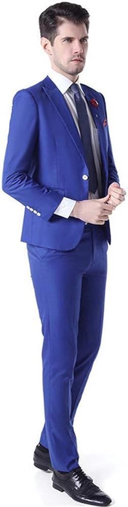 2 PCs Men Suits (Jacket+Pants) Slim Fit Peak Lapel Blazer Wedding Prom Grooms Tuxedo Plus Size