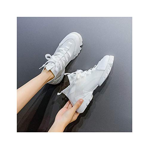 HaoLin Zapatillas de Plataforma para Mujer, Zapatos de Pared, Zapatillas de Malla Transpirables, Zapatillas Deportivas Informales para Mujer, Cómodas,White-38 EU