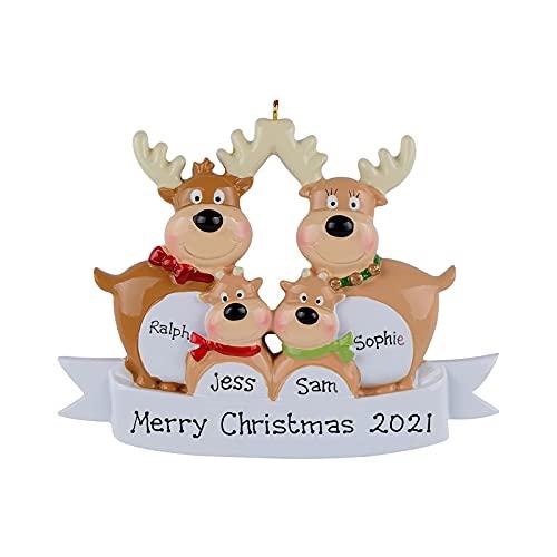 WENDAO 2021 Palline per albero di Natale personalizzate per il nome della famiglia di Natale, decorazioni fai da te per albero di Natale, decorazioni per albero di Natale, alce cervo famiglia 2021