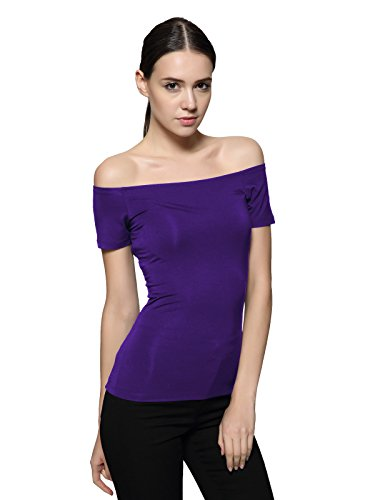 Maggie Tang Trendy Fitted Off Shoulder Modal Blouse Top Purple