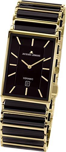 JACQUES LEMANS Herren Analog Quarz Uhr mit Edelstahl Armband 1-1593.1G