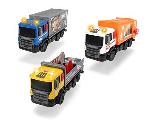 Dickie Toys 203742011 Scania City Team, Müllauto, Müllwagen, Lastwagen, Müllabfuhr Kinder, 17 cm, 3-sort, Mehrfarbig