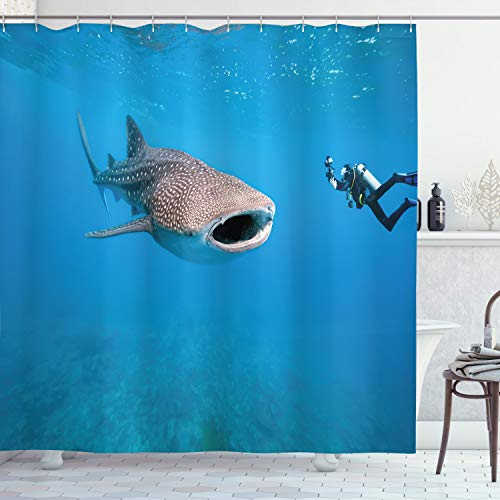 ABAKUHAUS Hai Duschvorhang, Riesiges Fisch-Ozean-Tauchen, mit 12 Ringe Set Wasserdicht Stielvoll Modern Farbfest und Schimmel Resistent, 175x200 cm, Violettblau Hellgrau