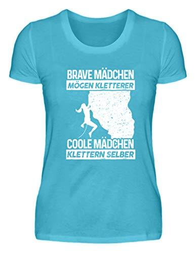 Klettern: Coole Mädchen Klettern - Damenshirt -M-Karibik Blau