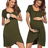 Pinspark Ropa de Dormir Premamá Camisón para Embarazada Vestido Lactancia Maternidad Mujer, Verde Militar XL