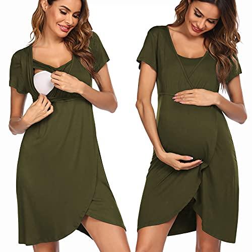 Pinspark Camisón Premamá Pijama Embarazadas Camisón Corto para Madres Hospital, Verde Militar L