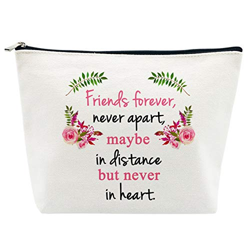 Friendship Gifts Best Friends Gifts for Women Birthday Friends Forever Maybe in Distance but Never in Heart Makeup Bag for Teacher Nurse Classmate Coworker Going Away Gifts