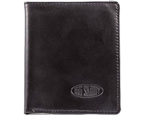 Big Skinny Metro Leather Bi-Fold Slim Wallet, Holds Up to 20 Cards, Black