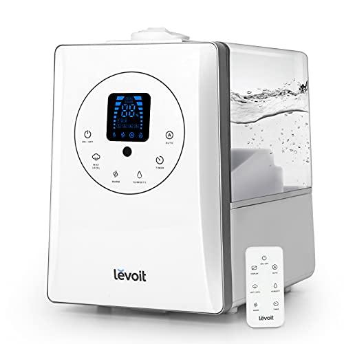 LEVOIT Humidificador Ultrasónico 6L de Vapor Caliente y Frío a Bebes, Humidificador Aromaterapia a 36H y 70 m², Silencioso Auto Modo <32 dB y Temporizador, Doble Boquillas 360°, 3 Niveles Ajustables
