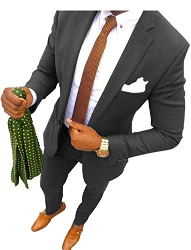 Ferrecci Men's Reno White/Black Slim Fit Shawl Lapel Collar 2 Piece Tuxedo Suit Set - Tux Blazer Jacket and Pants (44 Long)