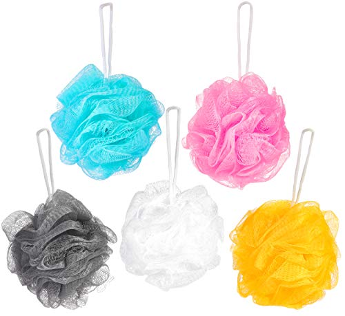 BRUBAKER Cosmetics - 5x Peeling- oder Massage Schwamm Badeschwamm Duschschwamm mit Aufhänger - Farbmix