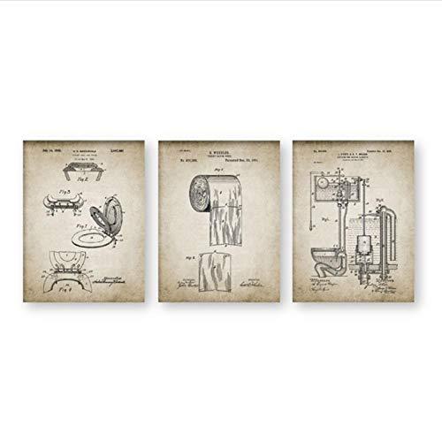 Zhaoyangeng Badkamer-affiche, vintage, toiletpapierrol, waterkoen, dekzeilen op canvas, 50 x 70 cm, zonder lijst