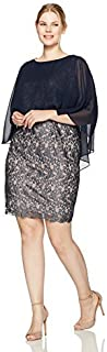 Sangria Women's Size Lace Dress with Chiffon Overlay Plus