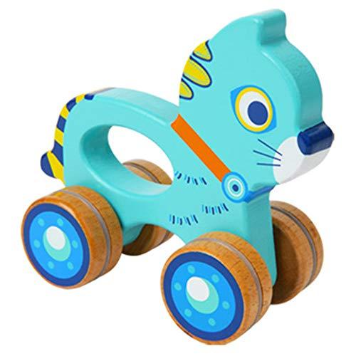 NBLYW Trolley pour Enfants créatifs, Animal en Bois saisissant Un Jouet de Simulation, Jouet à Tirer 0-2 Ans Enfant en Bas âge garçon et Fille,Blue