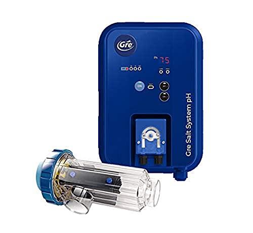 Gre SCGPHP60 SCGPHP60-Clorador Salino + Controlador de pH + Bomba dosificadora, para Piscinas hasta 60 m3, Azul, All in one