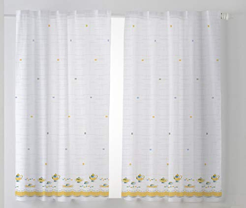 Cardenal Textil Tazas Cortina Cocina Visillo, Naranja, Pack 2 100 x 140 cm