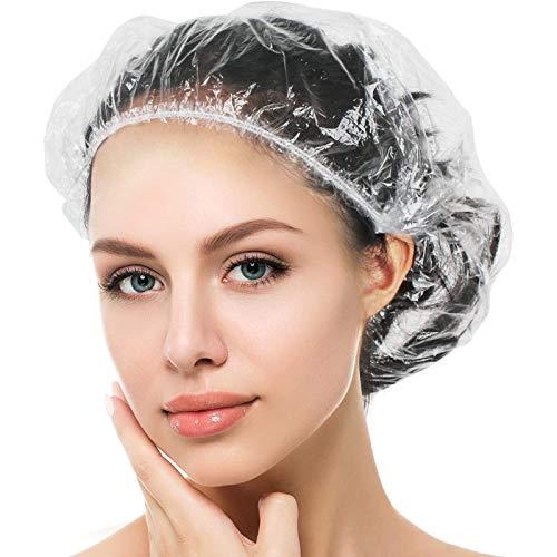 Auban Einweg-Duschhauben, 130 Stück Duschhaube, breite, dicke, durchsichtige, elastische Haarduschhaube aus, geeignet für Frauen, Reise, Heimgebrauch……