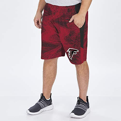 Zubaz NFL Herren Static Shorts, Herren, NFL Atlanta Falcons Herren Schwarz/Rot, Größe L (US), NFL Men's Poly Short with Side Panels, Multi, Large