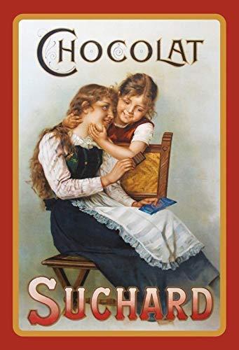 Chocolat Suchard Mutter Und Kind Panneau Métallique Plaque Métallique Plaque Voûté Signe en Étain Métal 20 X 30 CM