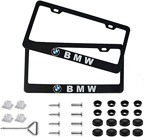2Pcs Newest Matte Aluminum Alloy Logo License Plate Frame for BMW, with Screw Caps Cover Set, Applicable to US Standard car License Frame