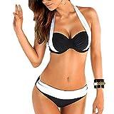 Ducomi ARI Traje de Baño de Dos Piezas para Mujer - Bañador Sujetador Push Up y Culottas de Talle Baja - Bikini de Playa para un Verano a la Moda (S, Negro)