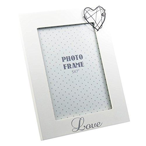 Cadre photo design Love avec cœur blanc mat laqué env. 18 x 23 cm pour photos 13 x 18 cm