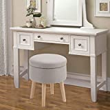 MAISON ARTS Round Storage Ottoman Vanity Stool Foot Stool Seat Dressing Chair Footrest Side Table Tufted Ottoman Coffee Table for Living Room Bedroom, Light Grey